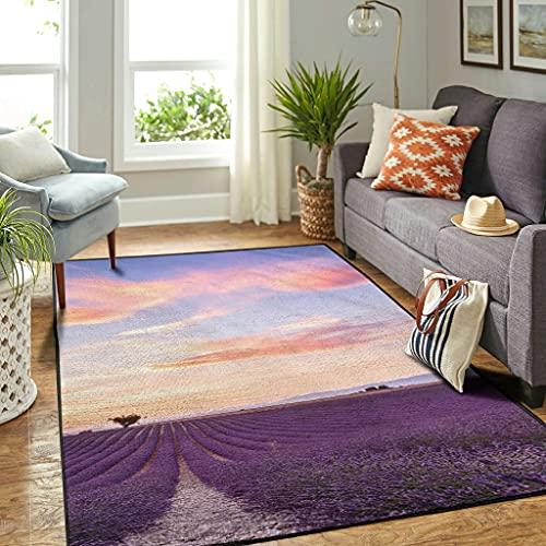 Veryday Alfombra vintage de lavanda, para salón, dormitorio, pasillo, blanco, 50 x 80 cm
