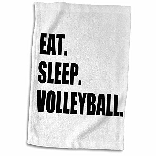 3D Rose Eat Sleep Volleyball Black Text Beach Volley Ball Player Sport Fan TWL_180456_1 Towel, 15' x 22', Multicolor
