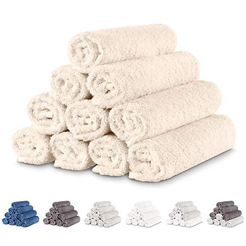 Twinzen - 10 TLG. Handtücher Set klein 30x50 cm, Beige - Gästehandtuch, Frottee Handtuch Set, Baumwoll Tücher Gesicht, Gesichtstuch Deko Badezimmer