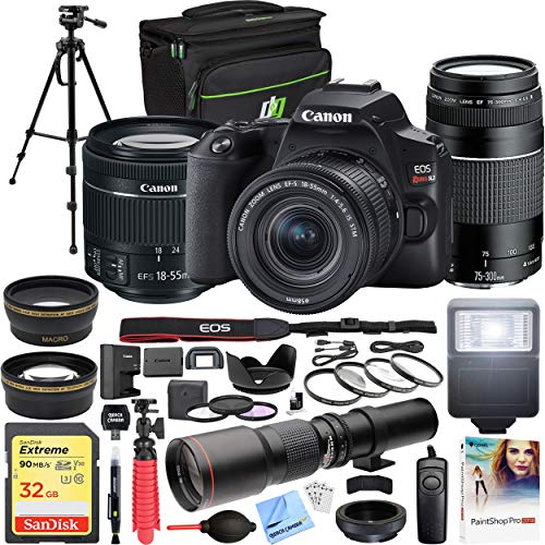 Canon EOS Rebel SL3 DSLR 24.1MP 4K Video Camera + EF-S 18-55mm is STM Lens Black Bundle