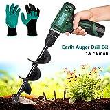 Foret à tarière en spirale pour creuser la main sur la terrasse, la ferme, le sol, la plante, les graines, les arbres, les arbustes, les bulbes de fleurs (1,6 x 22,9 cm + une paire de gants)