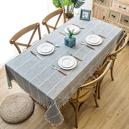 N-B Solid Decorative Linen Tablecloth with Tassel Waterproof Thicken Rectangular Wedding Dining Table Cover Tea Table Cloth