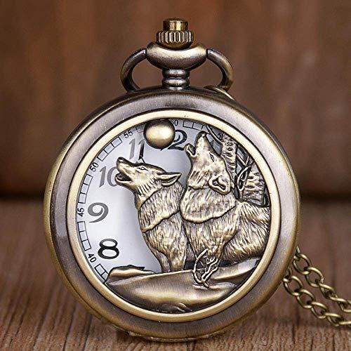 YHWW Montre de Poche Nouveau Vintage Montres De Poche Bronze Moon Moon Design Creux Quartz Poche Montres Collier Pendentif Hommes Femmes Cadeaux Horloge