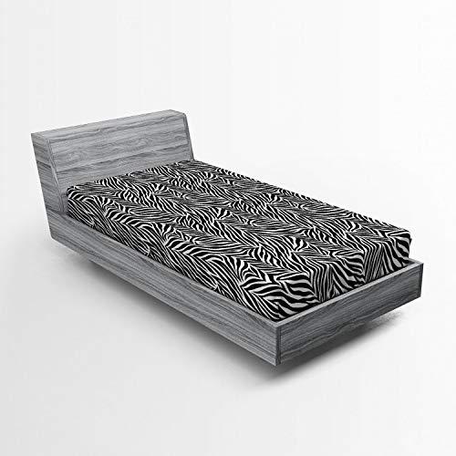 Lunarable Zebra Print Fitted Sheet, Animal Print Zebra Pattern Monochrome Style Exotic Simplistic Illustration, Soft Decorative Fabric Bedding All-Round Elastic Pocket, Twin Size, White Charcoal