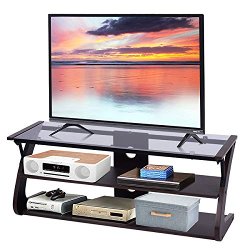 Tangkula TV Stand, 3-Tire TV Stand Storage Console with Storage Shelves for TV up to 50', Home Living Room Furniture, Display Cabinet TV Entertainment Center Console (Glass Top)