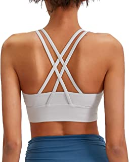 Lavento Women's Strappy Sports Bra Long Line Medium Support Energy Workout Training Top