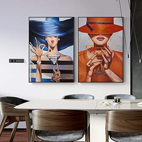 Leinwand Wandmalerei Elegante Zylinder Lady Vintage Mädchen Kunst Bild für Wohnzimmer Gang Studio Home Decoration Poster und Print-30x40cmx2 No Frame