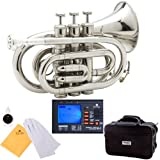 Mendini MPT Brass Bb Pocket Trumpet + Tuner, Case, Mouthpiece, & More (Nickel Plated)