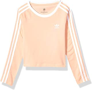 adidas Originals Kids' Big Juniors 3-Stripes Cropped Long-Sleeve Tee