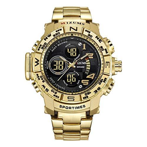 Armbanduhr, wasserdichte männliche Uhr mit Edelstahl Uhrenarmband Legierung Kasten für Jungen Familien Freunde(Golden Case+Black Dial)