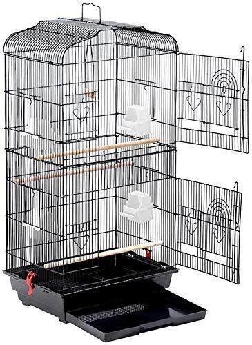鳥かご バードケージ 大きいケージ 鳥小屋 大型 複数飼い セキセイインコ オカメインコ オウム 文鳥 小鳥 (1ブラック)