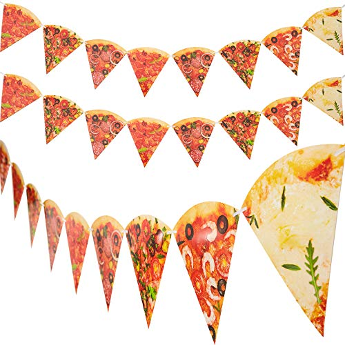 4 Pieces Pizza Photo Banner Pizza Pennant Pizza Party Theme Decoration for Pizza Themed Birthday Baby Shower Party Supply, Pre-assembled
