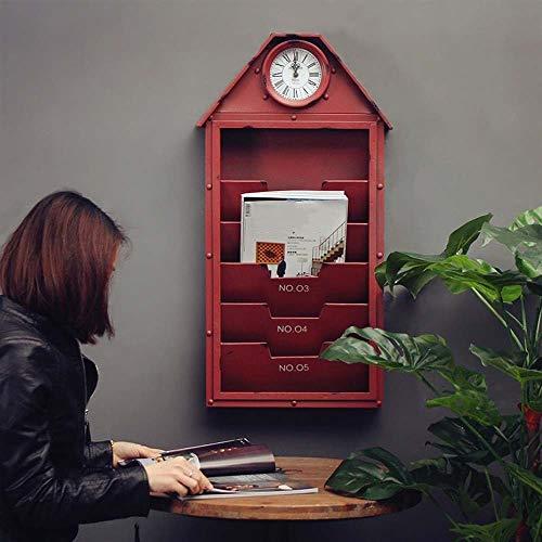 MQW Hierro Americano Retro Decoración De La Pared Revestimiento De Hierro Forjado Almacenaje De Pared Colgante Bar Café Oficina Hogar Reloj De Pared De Pared Negro Rojo (Color : Red)