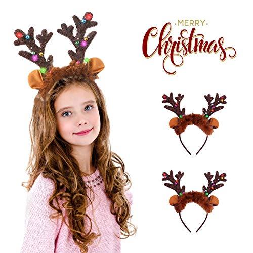 Sporgo LED Weihnachts Haarreif,2 Stück haarreif mit LED Beleuchtung, Weihnachtsgeweih, Kopfschmuck, Haarschmuck, Weihnachtsschmuck, Haarschmuck für Damen und Kinder