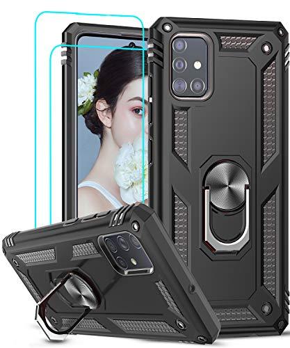 LeYi Funda Samsung Galaxy A51 5G con [2-Unidades] Cristal Vidrio Templado,Armor Carcasa con 360 Grados Anillo iman Soporte Hard PC Silicona TPU Bumper Antigolpes Case para Movil A51 5G,Negro