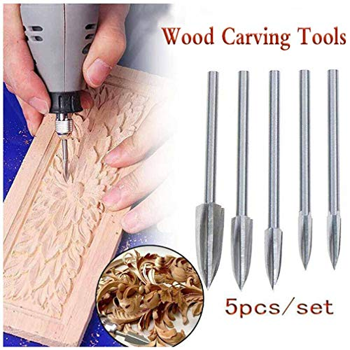 5PCS Wood Carving And Engraving Drill Bit Milling Root Cutter Carving Tools | Holz-Schnitzwerkzeug Set, Professional Holzschnitzerei Messer Werkzeuge, Carving DIY