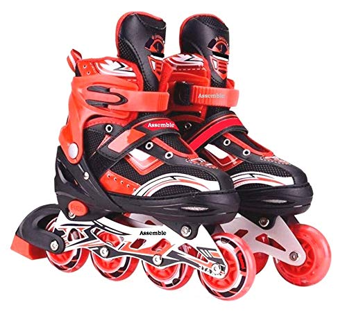 Assemble Inline Skates Size Adjustable All PU Wheels with Aluminum-Alloy, LED Flash Light, Age Group 6-14 Years Red-Skate (Size-38-41)