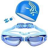 Ryokozashi Gafas de natación ajustables impermeables antivaho gafas...