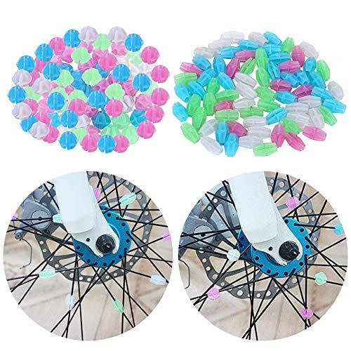 JAHEMU Kinderfahrrad Zubehör Speichenclips Speichenklicker Fahrrad Speichenperlen Leuchtendes Räder perlen Fahrrad Dekor für Mädchen Kinder 144 Stück