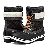 Aleader Snow Boots for Women, Warm Winter Boots with Fur for Hiking, Skiing Black/Grey 9 B(M) US