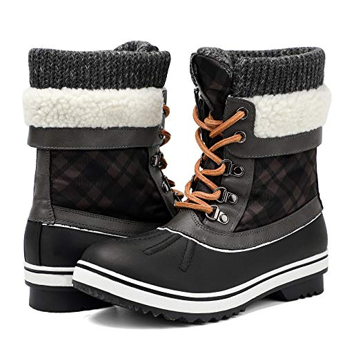 ALEADER Snow Boots for Women, Warm Winter Boots with Fur for Hiking, Skiing Black/Grey 7.5 B(M) US