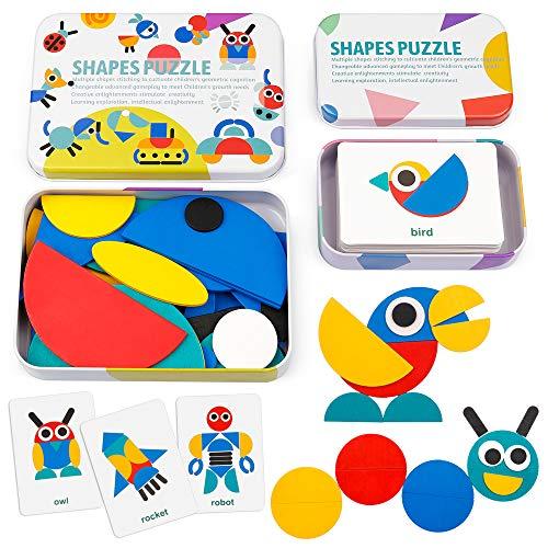 Coogam De Madera Modelo Bloques - Tangram Shape Puzzle Set