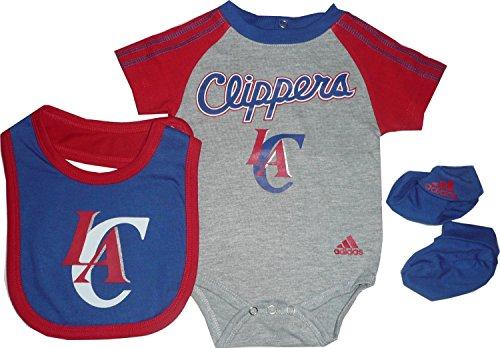 adidas Los Angeles LA Clippers 3-teiliges Creeper-Lätzchen, Babyschuh-Set, Grau (6-9 Monate)