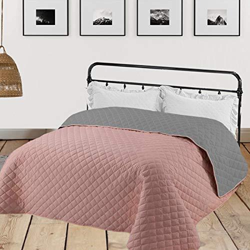 HOMELEVEL Tagesdecke Bett & Sofaüberwurf 220cm x 200cm Bettüberwurf Sofa Tages Decken Betthusse XXL Decke Überwurf Altrose/Grau