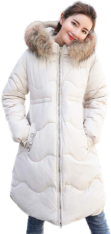 BETTERUU UFACE Women Outerwear Button Coat Long CottonPadded Jackets Pocket Fur Hooded Coats