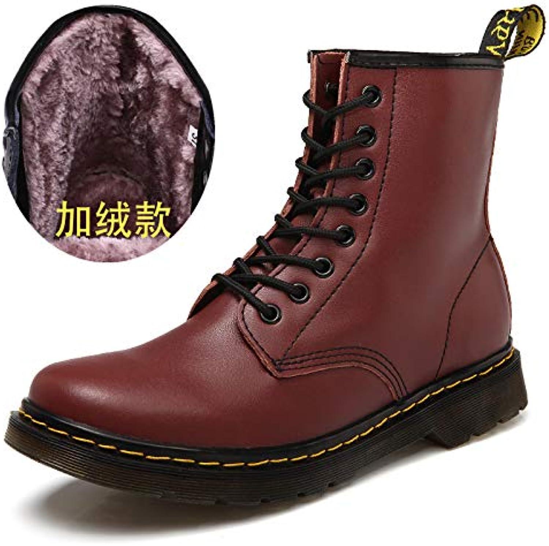 Shukun Men's boots Autumn Martin Boots Men'S Wild Pu Black Boots Men'S High Help Winter Cotton Tooling Boots Soft Leather