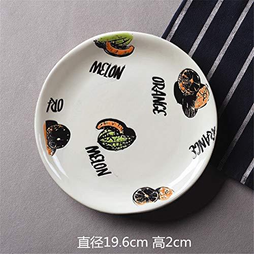 liumengjie Haushaltsgeschirr Western Dish handbemalte runde Keramikplatte Teller mit Steakplatte Flache Platte grün
