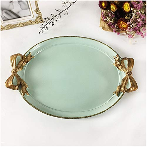 XMSIA Decorative Tray Perfume Tray Handmade Vanity Tray Jewellery Tray Catchall Tray Trinket Tray for Dresser Vanity Table Mirror Tray for Dresser Bathroom (Color : Blue, Size : One size)