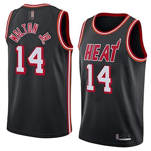 Jerseys De Baloncesto De Los Hombres, NBA Miami Heat # 14 Derrick Walton Jr. - Uniformes De Chaleco Transpirable Suelto Uniformes Classic Confort Camiseta Sin Mangas Tops,Negro,M(170~175CM)