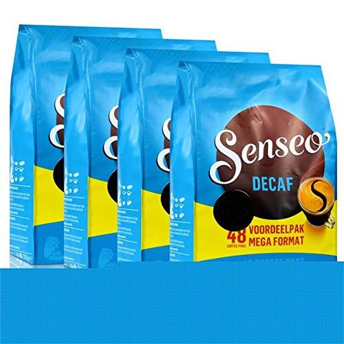 Senseo Kaffeepads Décafé / Entkoffeiniert, Reiches Aroma, Intensiv & Ausgewogen, Kaffee, neues Design, 4er Pack, 4 x 48 Pads