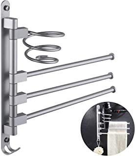 ESOW Swivel Towel Bar with Hair Dryer Holder and Hook in Swing Out Style, Bathroom Towel Rack Hanger Holder Organizer (3-Arm),Wall Mounted, Space Aluminum Finish