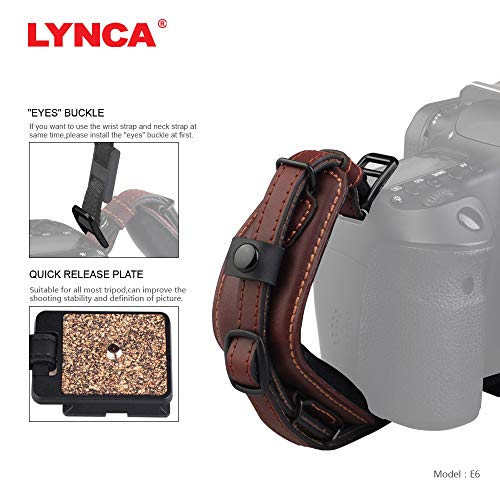 Lynca DSLR Camera Leather Wrist Strap Comfort Padding with Quick Release Plate, Superior Hand Grip Stability and Security | for All DSLR SLR and Digital Cameras