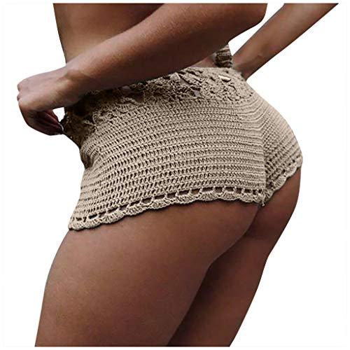 Allence Frauen Badeshorts Retro Strandhose Shorts Einfarbig Sexy Aushöhlen Stricken Strand Boxershorts Hosen Schwimmhose