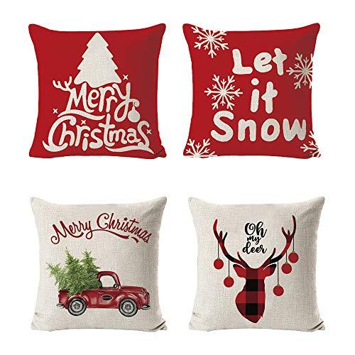 Homo Trends Juego de 4 fundas de cojín de Navidad, fundas de almohada, alce, árbol de Navidad, funda de cojín para sofá, 45 x 45 cm