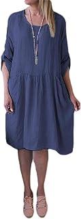 MK988 Women's Casual Cotton Crew Neck Plus Size Long Sleeve Solid Beach Party Midi Dress