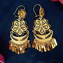 Mexican Lightweight Earrings for Women and Girls, Traditional Handmade Oaxaca Floral Filigree Gold Yellow Jewelry