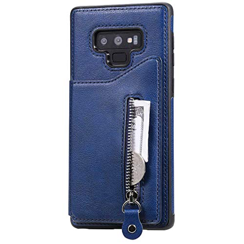 The Grafu Soft Case for Galaxy Note 9, Premium Cover for Galaxy Note 9, Shockproof PU Leather Wallet Case with Soft TPU Bumper Case, Blue