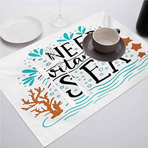 FloraGrantnan Washable Non-Slip Heat Resistant Place Mats, Sea I Need Vitamin Sea Inspirational Quote Hand D, for Kitchen Dining Decoration, Set of 6