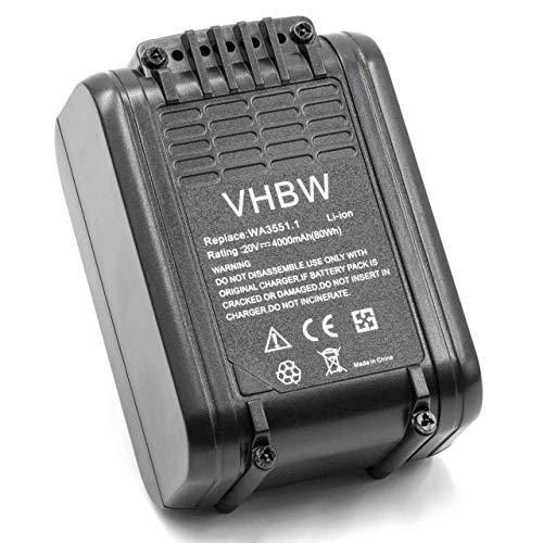 vhbw Batería recargable compatible con Worx WG163E.2, WG163E.9, WG165, WG166, WG166.1, WG169, WG169E herramientas eléctricas (4000 mAh Li-Ion 20 V)