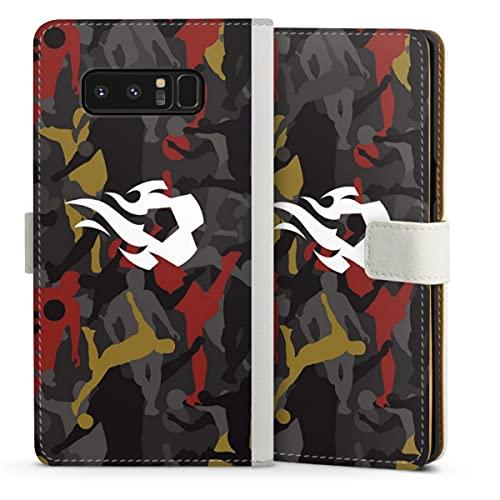 DeinDesign Klapphülle kompatibel mit Samsung Galaxy Note 8 Duos Handyhülle aus Leder weiß Flip Hülle Rote Teufel Fußballer RBFA