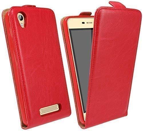 ENERGMiX Klapptasche Schutztasche kompatibel mit ZTE Blade A452 in Rot Tasche Hülle