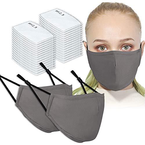 2PCS Adult Unisex Washable & Reusable Protective Face Masks with Filter Pocket + 30PCS PM2.5 Carbon Filters (Grey)