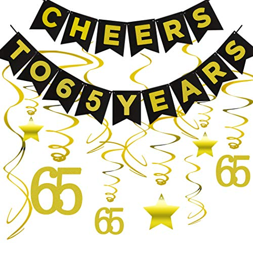 65th BIRTHDAY PARTY DECORATIONS KIT - Cheers to 65 Years Banner, Sparkling Celebration 65 Hanging Swirls, Perfect 65 Years Old Party Supplies 65th Anniversary Decorations