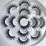 PLEELL False Eyelashes Fluffy Faux Mink Long Dramatic Wispy Handmade Volume Natural Look Soft Lightweight Reusable Makeup Lashes