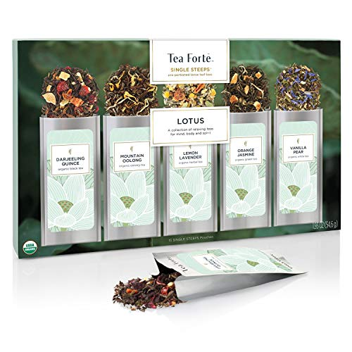 Tea Forte Single Steeps Loose Leaf Tea Sampler, Assorted Variety Tea Box, 15 Single Serve Pouches (Sampler - Lotus)