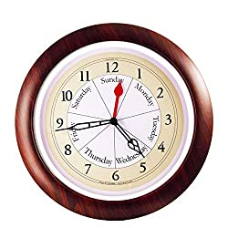 DayClocks Combination Analog Wall Clock – Time of Day and Day of the Week Wall Clock – Unique Kitchen Wall Clock -- Walnut Accent Frame